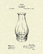 Antique Drawings - Lamp Chimney 1895 Patent Art by Prior Art Design