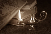 Oil Lamp Metal Prints - Lamp of Learning Metal Print by Tom Mc Nemar