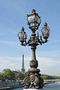 Candelabra Metal Prints - Lamp on Pont Alexandre III and Tour Eiffel Metal Print by Fabrizio Ruggeri