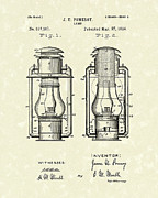 Oil Lamp Metal Prints - Lamp Pomeroy 1894 Patent Art Metal Print by Prior Art Design