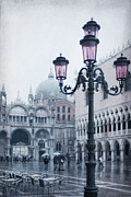 Town Square Prints - Lamp Post At Doges Palace Print by Alexandre Fundone