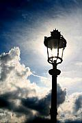 Paris Digital Art Prints - Lamp Post at the Louvre Print by Greg Sharpe
