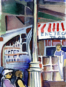 Bridge Drawings Prints - Lamp Post in the Cafe Print by Mindy Newman