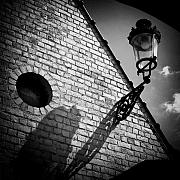Bricks Prints - Lamp with Shadow Print by David Bowman