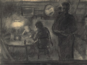 Night Lamp Drawings - Lamplight in the Cabin by Willoughby  Senior
