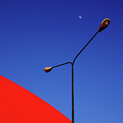 Light Photography Prints - Lamps And Moon Print by ph. Roberto Russo