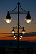 Night Lamp Posters - Lamps at Sunset Poster by Mike Horvath