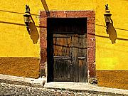 San Miguel De Allende Framed Prints - Lamps in Ochre Framed Print by Olden Mexico