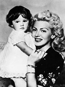 Mother And Daughter Framed Prints - Lana Turner Right, And Daughter Cheryl Framed Print by Everett