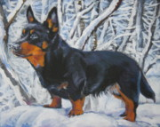 Heeler Paintings - Lancashire Heeler in snow by Lee Ann Shepard