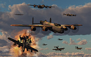 Vintage Air Planes Posters - Lancaster Heavy Bombers Of The Royal Poster by Mark Stevenson