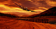 Merlin Art - Lancaster Over Ouzelden by Nigel Hatton
