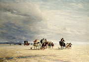 Carriages Painting Posters - Lancaster Sands Poster by David Cox
