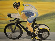 Lance  Armstrong Paintings - Lance Time Trialing by James Lopez