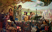 Guinevere Framed Prints - Lancelot and Guinevere Framed Print by Herbert James Draper