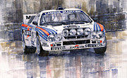 Watercolor  Paintings - Lancia 037 Martini Rally 1983 by Yuriy  Shevchuk