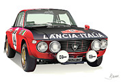 Italian Cars Digital Art Framed Prints - Lancia Fulvia HF Framed Print by Alain Jamar