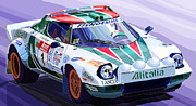 Realism Framed Prints - Lancia Stratos Alitalia Rally Catalonya Costa Brava 2008 Framed Print by Yuriy  Shevchuk
