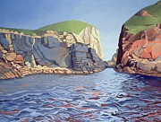 Geography Painting Prints - Land and Sea No I - Ramsey Island Print by Anna Teasdale