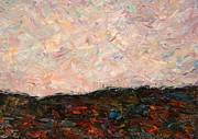 Palette Knife Framed Prints - Land and Sky Framed Print by James W Johnson