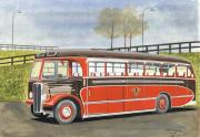 Buses Pastels Prints - Land of Brown Bombers Print by John Kinsley