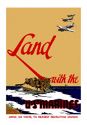 Marine Art Framed Prints - Land With The US Marines Framed Print by War Is Hell Store