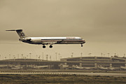 American Airlines Prints - Landing at DFW Airport Print by Douglas Barnard