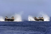 Boats On Water Photo Posters - Landing Craft Air Cushion 84 And 87 Poster by Stocktrek Images