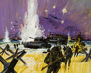 Ww2 Painting Posters - Landing Poster by Graham Cotton