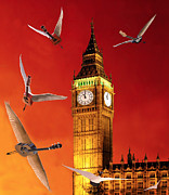 Flying Guitars Posters - Landing In London Rocks Poster by Eric Kempson
