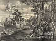 Cristoforo Framed Prints - Landing Of Christopher Columbus Framed Print by Photo Researchers