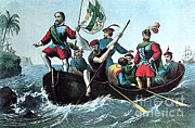 Colonial Man Prints - Landing Of Columbus At San Salvador Print by Photo Researchers