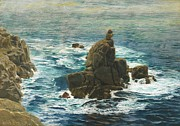 Rocky Shoreline Paintings - Lands End by John Brett