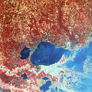 Urbanization Framed Prints - Landsat-4 Thematic Mapper Showing Gulf Framed Print by NASA / Science Source