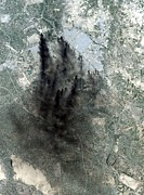 Iraq Prints - Landsat Image Of Baghdad Showing Dark Print by Everett