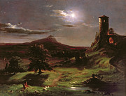 Ruin Painting Metal Prints - Landscape - Moonlight Metal Print by Thomas Cole