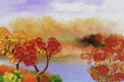 Autumn Scene Digital Art - Landscape 031111 by David Lane
