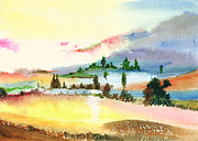 Christmas Holiday Scenery Paintings - Landscape 1 by Anil Nene