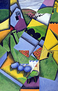 Purple Tree Framed Prints - Landscape and Houses at Ceret Framed Print by Juan Gris