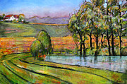 Farm House Paintings - Landscape Art Scenic Fields by Blenda Studio