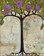 Mixed-media Paintings - Landscape Art Tree Painting Past Visions by Blenda Studio