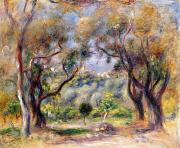 Tree Lined Paintings - Landscape at Cagnes by Pierre Auguste Renoir