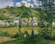 Village Paintings - Landscape at Chaponval by Camille Pissarro