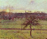 Village Paintings - Landscape at Eragny by Camille Pissarro