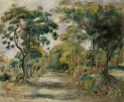 Tall Trees Framed Prints - Landscape at Noon Framed Print by  Pierre Auguste Renoir