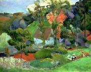 1848 Paintings - Landscape at Pont Aven by Paul Gauguin