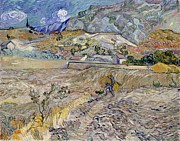 Post-impressionist Prints - Landscape at Saint-Remy Print by Vincent Van Gogh