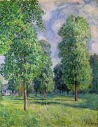 Lush Green Framed Prints - Landscape at Sevres Framed Print by Alfred Sisley