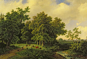 Stream Paintings - Landscape  by Barend Cornelis Koekkoek