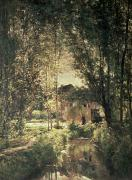 Farm House Paintings - Landscape by Charles Francois Daubigny